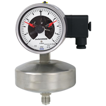 Capsule pressure gauge with switch contacts