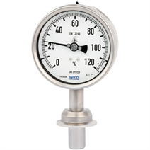 Gas-actuated thermometer for sanitary applications